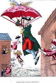 Caricature d'époque illustrant la crainte que les jeunes gens ne s'enthousiasment pour le saut en parachute.