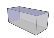 Vue 3D semi-transparente d'un parallélépipède rectangle particulier avec faces carrées