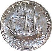 Représentation du Mayflower sur une pièce de 0,5 dollar, 1920