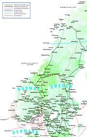 Plan du réseau ferré norvégien (et Suédois en partie).