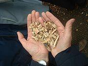 Plaquettes de bois utilisées dans les chaufferies automatisées