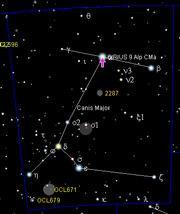 Position de Sirius dans la constellation du Grand Chien