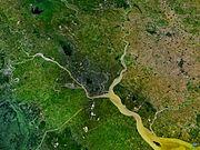 Le site de Rangoon, vue satellite.