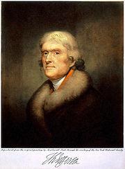 Portrait de Jefferson, peint par Rembrandt Peale, 1805