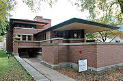 Robie House, Chicago, Frank Lloyd Wright, 1906-1909, style Prairie School