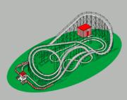 Un circuit de montagnes russes, vu par un dessinateur.