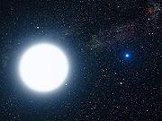 Une naine blanche en orbite autour de Sirius (vue d'artiste).
