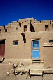 Taos, Nouveau-Mexique. Un exemple de construction adobe des indiens pueblos