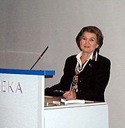 Valentina Terechkova lors d'une visite en Finlande, au centre scientifique Heureka, le 14 septembre 2002.