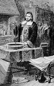 Torricelli inventant le baromètre à mercure, gravure figurant dans les livres de Camille Flammarion (1923)