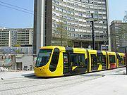 Tramway moderne à plancher bas à Mulhouse