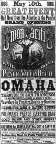 Affiche publicitaire sur le transcontinental, 1869