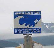 Panneau de prévention des tsunami en Alaska, États-Unis