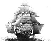 Le USS Monongahela, toutes voiles dehors, en 1862. Les bonnettes sont bien visibles de part et d'autre des voiles d'artimon