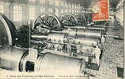 Au début du XXe siècle, dynamos d'une usine de production électrique de la société de tramway Est-Parisien