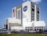 Le bâtiment d'assemblage de véhicules (VAB) de la Nasa à Cap Canaveral (Floride, États-Unis).