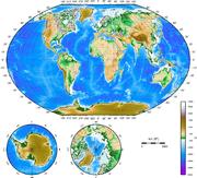 Carte topographique de la Terre au XXesiècle.