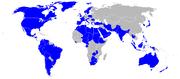 Carte du monde avec les utilisateurs du C-130 en bleu