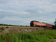 Locomotive Di 4 en pleine ligne.