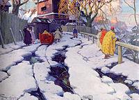 En Russie, en 1915 (peinture d'Ivan Goryushkin-Sorokopudov)