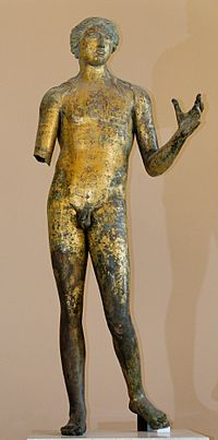 Apollon de Lillebonne, bronze doré gallo-romain du IIesiècle, musée du Louvre