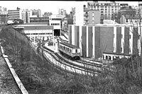 Vue de l'Atelier de Charonne depuis la Petite Ceinture, en 1984