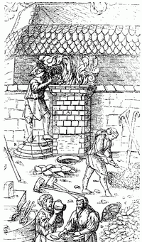 Fabrication d'acier au Moyen Âge dans un bas-fourneau.