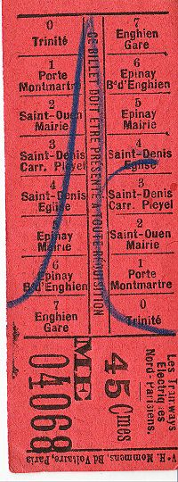 Billet du Tramway Enghien Trinité, montrant les principaux arrêts desservis.