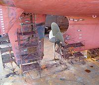 Safran d'un navire en cale sèche au chantier de Remontowa à Gda?sk en Pologne.