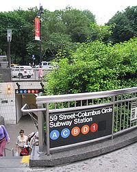 Station de Colombus Circle (les lignes A,B,C,D appartiennent à l'IND)