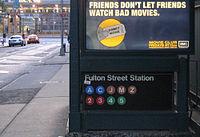 Entrée de la station de Fulton Street, dans le sud de Manhattan.