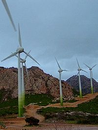 Parc éolien à Calenzana, Haute-Corse.