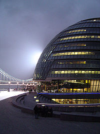 City Hall de nuit, siège du Greater London Authority.