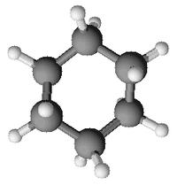 strucuture et représentations  (conformation chaise et représentation 3D) du cyclohexane
