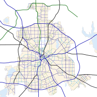 Carte routière de Dallas