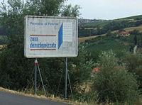 Panneau près de Montespertoli en Province de Florence (Toscane)