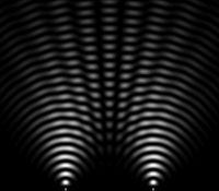 Simulation des interférences obtenues après les fentes de Young: les deux points en bas de l'image sont les sources de lumière.