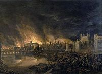 Le grand incendie de Londres qui a d�truit une partie de la ville en 1666