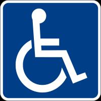 Pictogramme blanc sur fond bleu d'une personne en fauteuil roulant