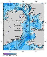Carte de la mer d'Irlande et du relief sous-marin.