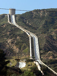 Les Cascades de l'aqueduc de Los Angeles, pr�s de Sylmar en Californie