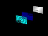 Afficheur 3 chiffres 1 & 5: filtres polarisants; 2: électrodes avant; 4: électrode arrière; 3: cristaux liquides; 6: miroir