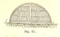 Illustration accompagnant l'article sur le charbon de bois dans le précis illustré de mécanique de 1894, représentant une meule en coupe