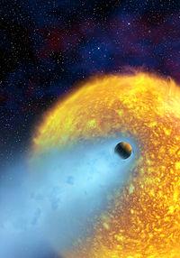 Vue d'artiste repr�sentant l'�vaporation d'Osiris (NASA/ESA/CNRS)