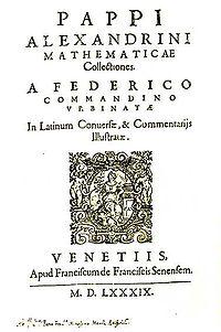 Mathematicae Collectiones par Pappus, traduites par Federico Commandino (1589)