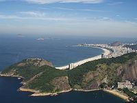 La plage de Copacabana vue depuis le Pain de Sucre