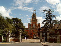 The gatehouse to the Royal Holloway college of the University of London