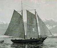 Une (deux-mâts) goélette de pêche, gréée seulement avec des voiles auriques