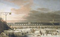Tamise gelée à Londres en 1677