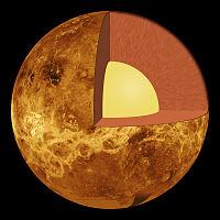 Vénus présente une structure interne semblable à celle de la Terre: croûte, manteau et noyau.